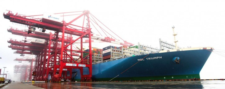 MOL Triumph, World's Largest Containership Makes a Successful Call in Shanghai, China
