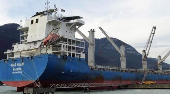 Cargo ship Kai Xuan runs aground in Squamish, B.C. terminal