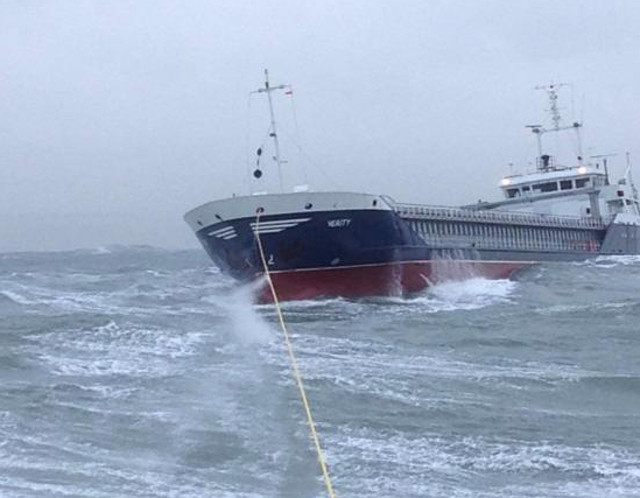 Drifting cargo ship Verity rescued in rough seas off North Devon coast (Video)