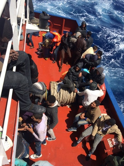 Refugees rescued on board dry cargo ship Constance in Mediterranean SeaApril, 2016