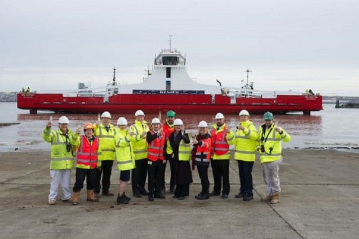 "Cammell Laird stages ""Float-off"" for new £10 ferry for Red Funnel"