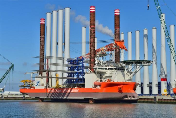Fred. Olsen Windcarrier's 400th turbine installation took place on Horns Rev 3