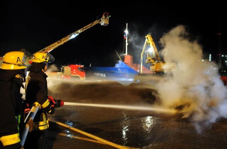 Cargo ship Ventura caught fire while docked at Kiel, Germany