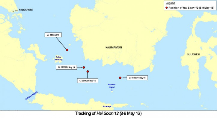 Tracking of tanker Hai Soon 12 on May 8-9 after hijacking off Pulau Belitung, Indonesia