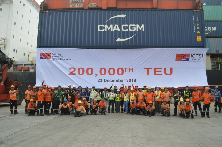 ICTSI Subic hits milestone 200,000th TEU move
