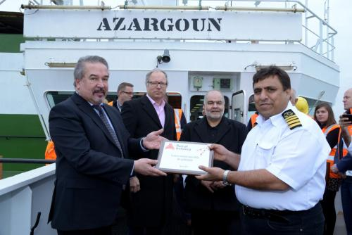 "Container ship Azargoun - the ""first"" Iranian ship which docked at Port of Antwerp after six years of economic sanctions against the Islamic country."