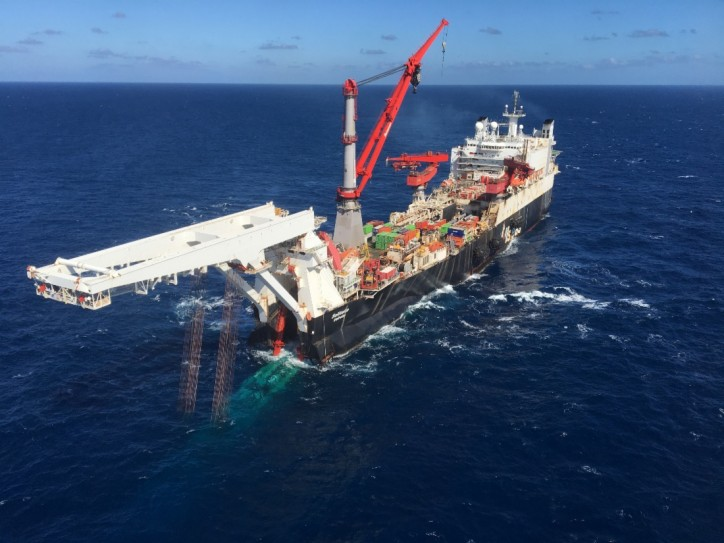 Offshore pipelay vessel Solitaire starts the pipelay for the Nord Stream 2 natural gas pipeline in the Gulf of Finland