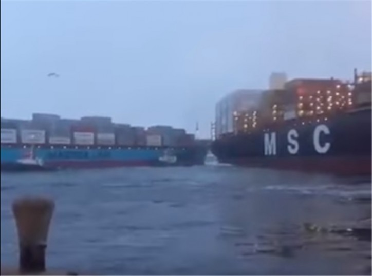 Collision between containerships Laura Maersk and MSC Shuba in Callao, Peru (Video)