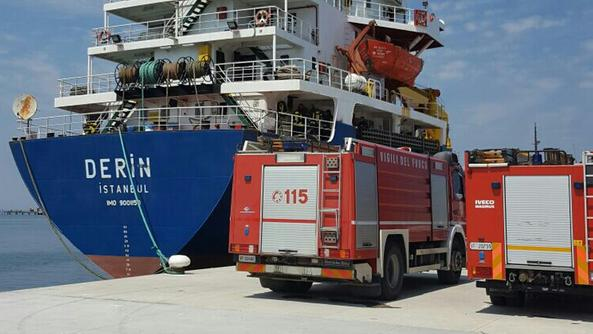 Engine Room Fire On Board Cargo Ship Derin Berthed At Chioggia, Italy