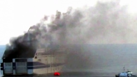 Norman Atlantic ferry ship burning with passengers on board in Corfu island