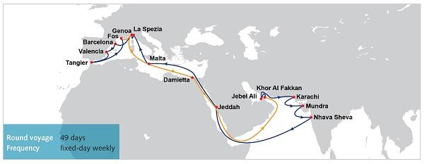 OOCLMiddle East - Pakistan - India - West Mediterranean Service (WM3)
