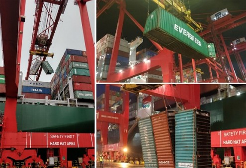 Storm-ravaged Evergreen container ship, Theseus, turned around to Colombo International Container Terminals for salvage operations