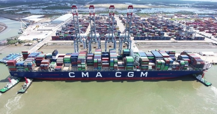 Cai Mep terminal welcomed one of the world's largest container ships - CMACGM Marco Polo