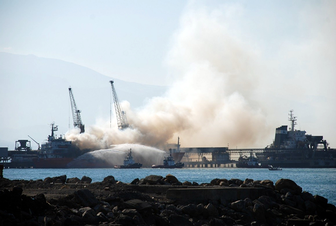 ship accident Retaj on fire