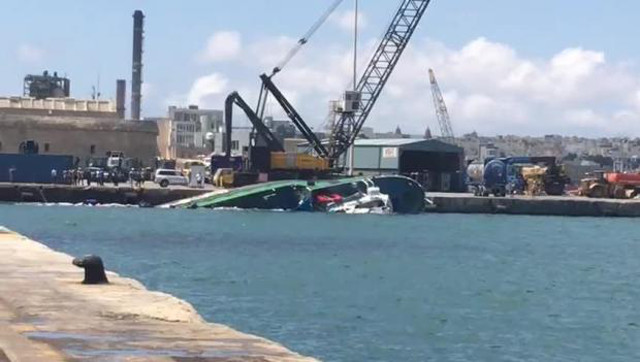 Fishing trawler capsizes in Valletta after collision with heavy-lift cargo ship Maria; Three boats hit