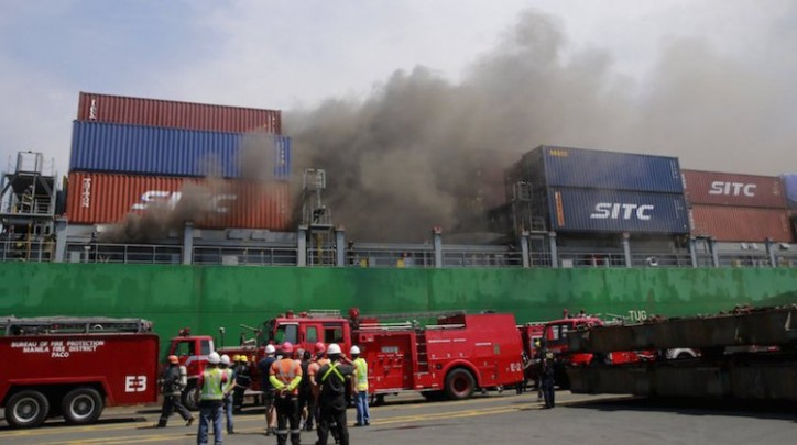Container ship Cape Moreton caught fire in Manila port