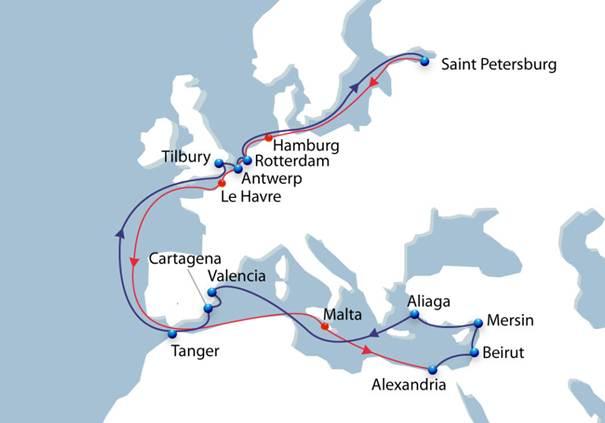 CMA CGM Baltic Levant Express service