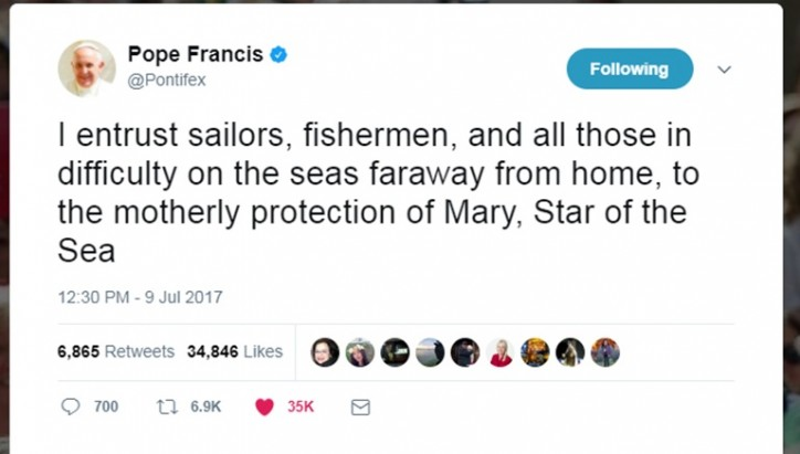 Pope Francis makes history with Sea Sunday tweet