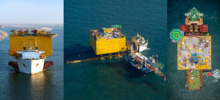 BorWin Gamma topside safely installed by COSCO SHIPPING  DP2 vessel Xiang He Kou in the North Sea (Video)