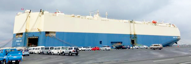MOL-operated car carrier Swan Ace serving Africa makes first call at Port of Kisarazu