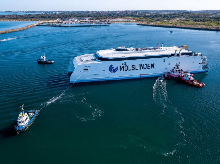 Austal Successfully Launches 109M High-Speed Catamaran for Molslinjen of Denmark (Video)