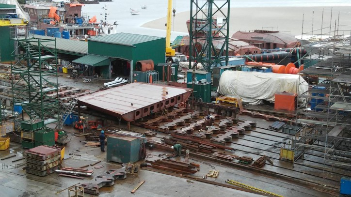 Gondan Shipyard lays the keel of new Østensjø SOV for DONG wind farm