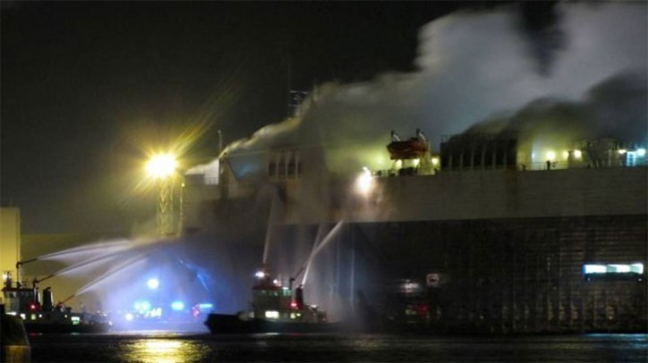 Fire erupts on board car carrier Silver Sky at port of Antwerp