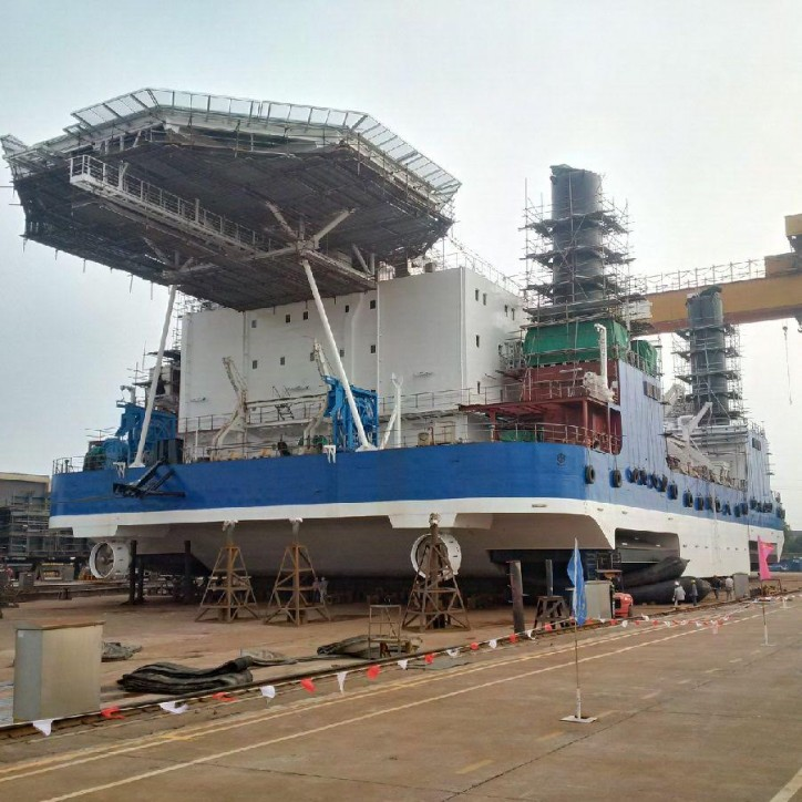 Mekers Offshore launches its first in a series of liftboats at Dajin Heavy Industries yard in Jiangsu, China