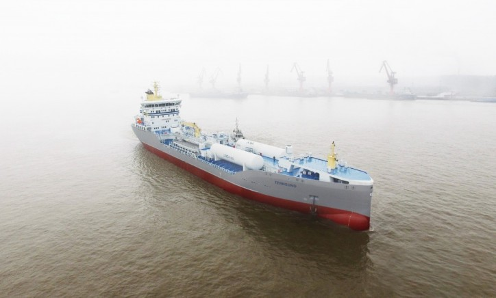 Press event in Rotterdam Port - the first newly built LNG powered product tanker arrives