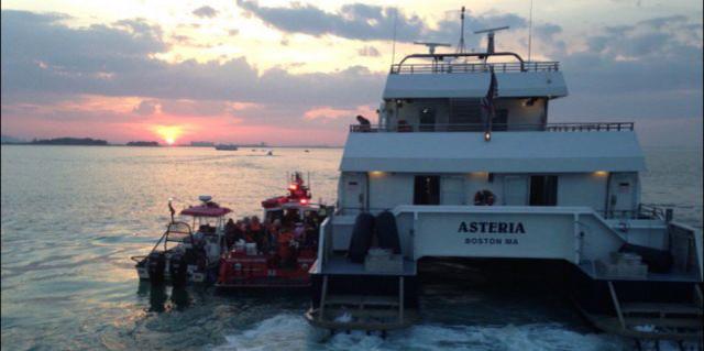 Boston Harbor wedding cruise ship Asteria runs aground