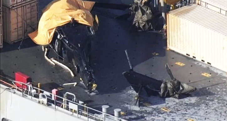 Seven injured as U.S. Army helicopter crashes on ship during training
