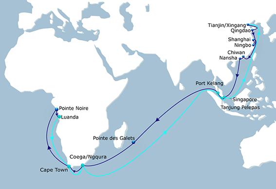 Port rotation in the CMA CGM ASAF Service