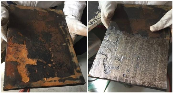 The effect of CoolLaser on steel on deck. Before (left) and after. Photo: NYK