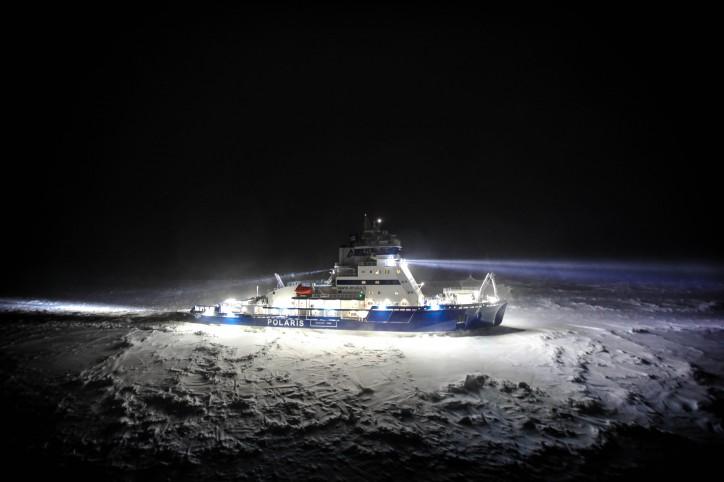 Icebreaker Polaris departs for icebreaking duty in the Bothnian Bay