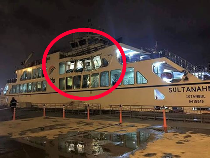ship accident:  Tanais Dream crashing into ferry Sultanahmet in Istanbul Strait
