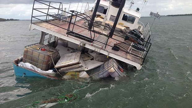 The 59 foot long supply vessel Endeavour ran aground in St. Lucie Inlet off Sewall's Point, Florida.