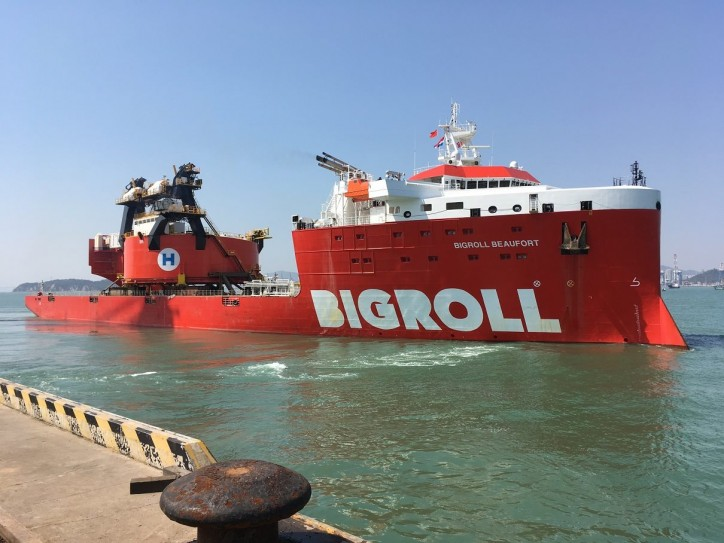 Spotted: BigRoll Beaufort completed her third voyage from Xiamen to Singapore with crane components for Heerema