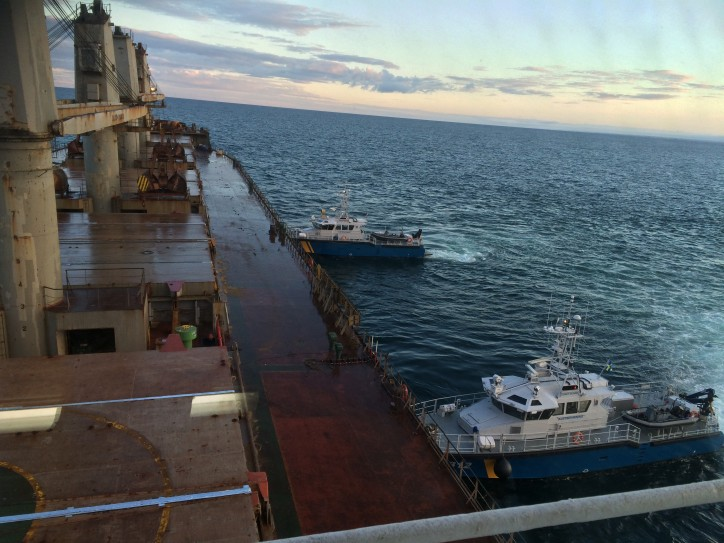 The Search & Rescue Vessels KBV 001 and KBV 034 at the incident site monitoring the lightering work on grounded bulker MV Victoria