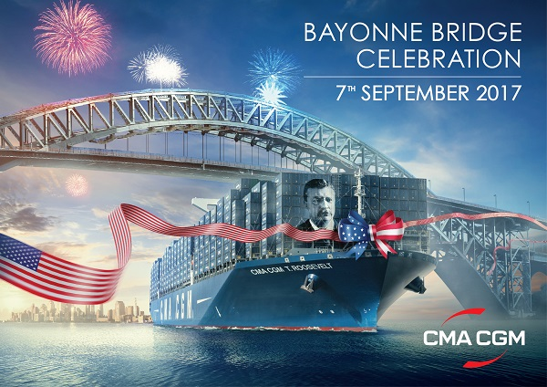 CMA CGM Theodore Roosevelt to inaugurate new Bayonne Bridge; largest ship ever to call at Port of NY-NJ
