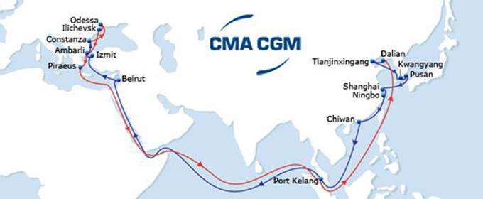 CMA CGM Litani  map