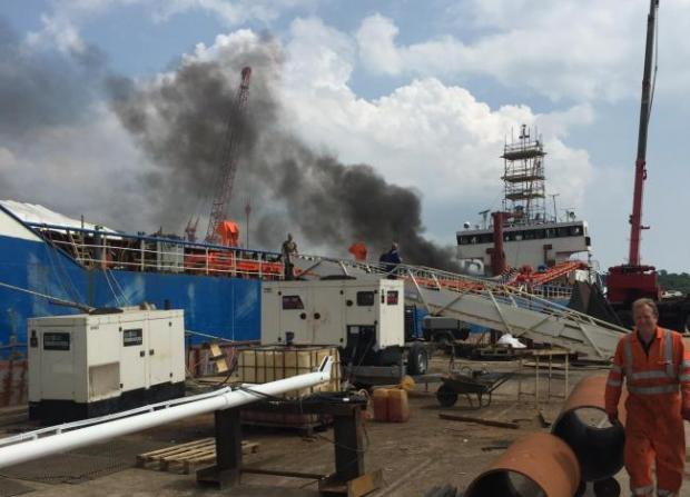 Fire Crews Called to Ship Fire in Southampton, UK (Video)