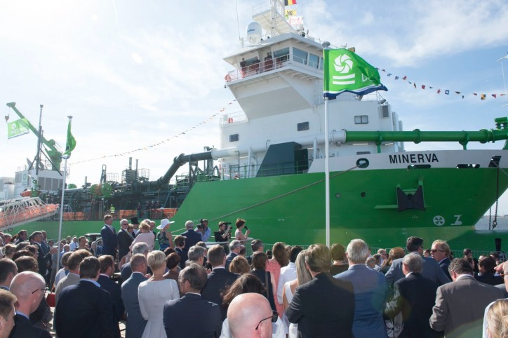 DEME holds naming ceremony for world's first LNG powered dredger Minerva