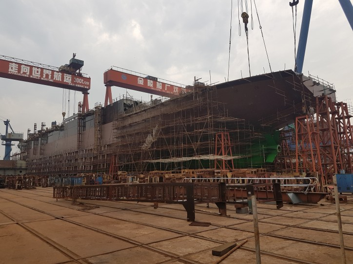 Spotted: Building of ESL Shipping's LNG-powered bulk carriers proceeds on time at Jinling Shipyard in Nanjing