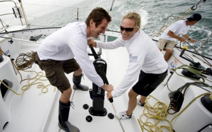 2009: Zara Phillips and former rugby player Will Greenwood worked hard during a race at Cowes Week off the Isle of Wight