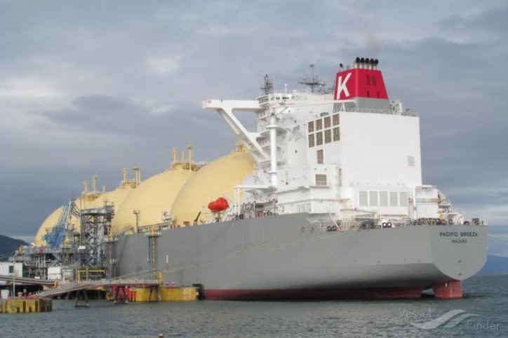 Kawasaki Heavy Industries announces delivery of the world's largest MOSS-type LNG Transport Vessel PACIFIC BREEZE