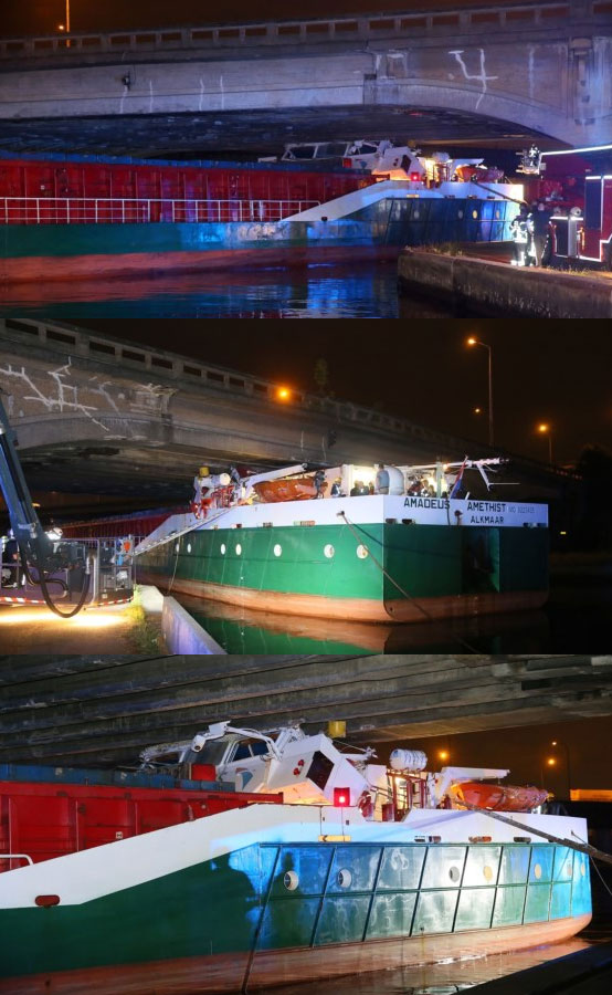 Cargo Ship Amadeus Amethist Crushed Under Bridge, Belgium