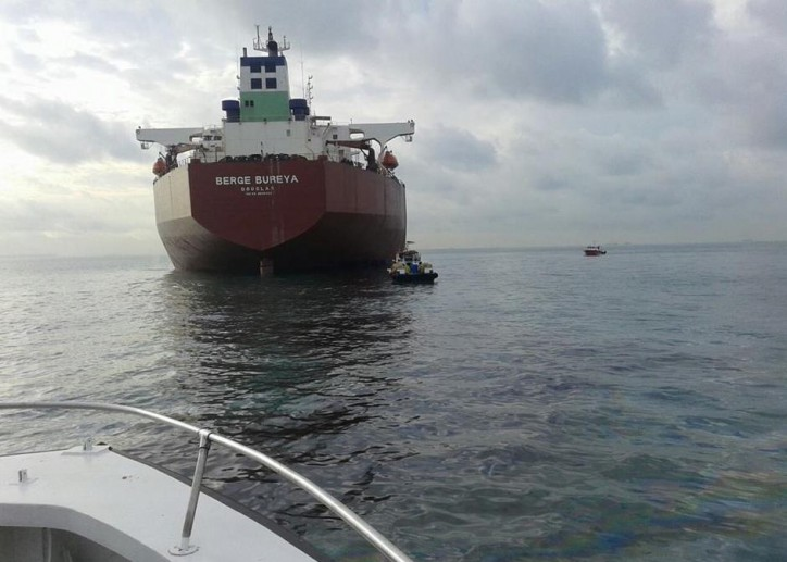 Very Large Ore Carrier Berge Bureya in an oil spill incident off Malaysia in the Malacca Strait