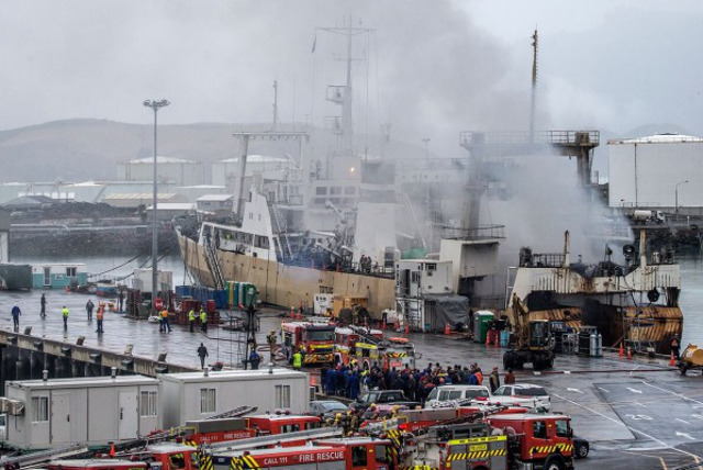 Two injured after a blaze on a fishing vessel in Lyttelton Port of Christchurch, New Zealand