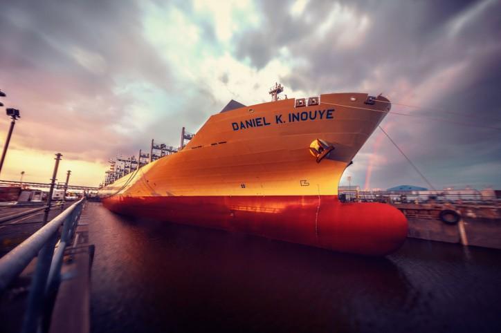 Matson Christens First Aloha Class Vessel 'Daniel K. Inouye' at Philly Shipyard