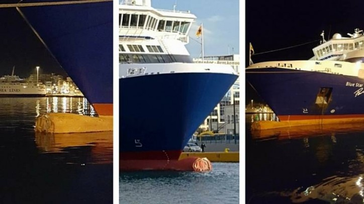 Ferry Blue Star Paros allided with a quay in Piraeus, Greece